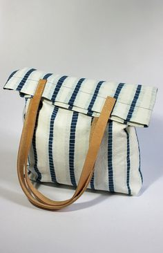 Rejell - Striped Shibori Hand Dyed Cotton Tote Bag Shoulder Bag with Leather Handles Indigo Blue