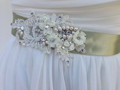 Beaded Lace Bridal Sash-Wedding Sash In Spring Green With Crystals &…