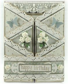 Taras Studio - Happy Birthday Card June - front way too ornate for my taste, but I like the folding and the idea of a more simple border Z Cards, Easel Cards, Pop Up Cards, Cool Cards, Tri Fold Cards, Fancy Fold Cards, Folded Cards, Cascading Card, Screen Cards