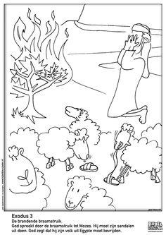 Exodus 2 Mozes En De Brandende Braamstruik Burning Bush CraftBible CraftsOLd TEStaMEnTMoiseColoring PagesBibleBurning