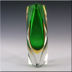 Murano Faceted Green & Amber Sommerso Glass Block Vase - £40.00