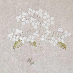 Fabric 310 - Linen/Cream Hydrangea & Butterflies l Susie Watson Designs