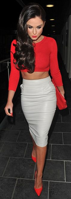 Nice combination:Teaming it with a white leather pencil skirt, Vicki caught the eye as sh...