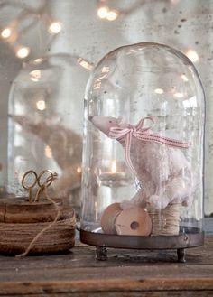 Tilda Sweet Christmas Polar Bear in Cloche | on Heart Handmade