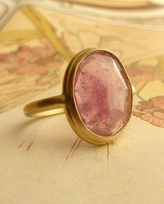 Pink Rose Cut Sapphire Ring  Large by kateszabone on Etsy, $695.00