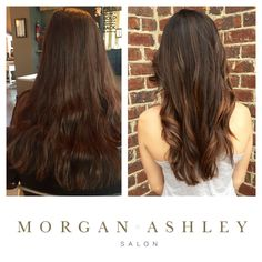 Sun kissed brunette. Balayage caramel highlights by Wendy at Morgan Ashley Salon.