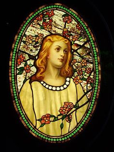 """Stained glass - encyclopedia article about Stained glass//  Many of the distinctive types of glass invented by Tiffany are demonstrated within this single small panel including """"fracture-streamer glass"""" and """"drapery glass"""". ."""
