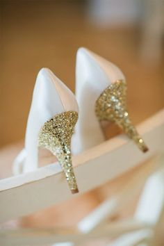 White And Gold Wedding Shoes Sparkly Glitter Heels Bride Golden