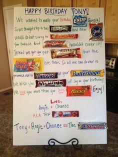 My Homemade Birthday Candy Poem/Card Candy Bar Poems, Candy Bar Cards, Candy Messages, Candy Signs, Candy Quotes, Candy Letters, Birthday Candy Posters, Candy Birthday Cards, Cute Birthday Gift