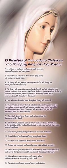 15 Promises of Our Lady to Christians who Faithfully Pray the Holy Rosary Devotions Catholic Religion, Catholic Quotes, Catholic Prayers, Religious Quotes, Praying The Rosary Catholic, Our Lady Of Rosary, Rosary Prayer, Holy Rosary, Faith Prayer