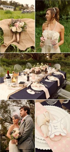 colour scheme , midnight blue, dusky pink  burlap even though it is a wedding photo i'd like this scheme in the bedroom