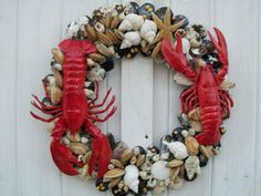 Seashell and lobster wreath -- (coastal, July 4th, Joe's Crab Shack)