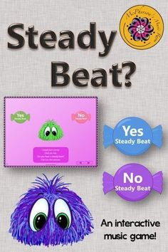 Working on steady beat with your elementary music students? This interactive game will be a hit!  Great music education resource.