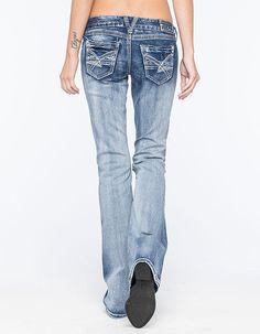 Amethyst Jeans Destructed Womens Bootcut Jeans Medium Blast  In Sizes