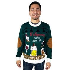 Looks Like Cocktails Adult Ugly Christmas Sweater Easy Halloween Costumes, Christmas Costumes, Career Costumes, Men's Costumes, White Wine Spritzer, Ugly Christmas Jumpers, Movie Character Costumes, Santa Costume, Trendy Halloween