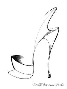 Shoe Sketch - fashion illustration; stylish fashion drawing // Georgina Goodman