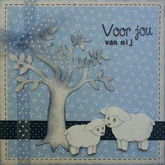 Marjoleine's blog: Kaarten met schaapjes bij een boom (deel 1)