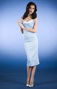 Stop Staring Blue dot dress, VLV, Pin up, size S #StopStaring #Sheath #Casual