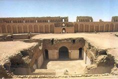 Al-Ukhaidhir fortress, 40 km South west of Karbala. It is a large, rectangular fortress erected in 778 AD with a unique defensive style. Constructed by the Abbasid caliph's As-Saffah's nephew Isa ibn Musa, Ukhaidir represents architectural innovation in the structures of its courtyards, residences and mosque. Excavations at Ukhaidir were conducted in the late 19th century by Gertrude Bell. Ukhaider was an important stop on regional trade routes, similar to Atshan and Mujdah.