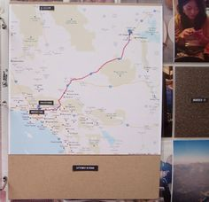 Travel journal idea - Include a map with your travel route and destination. #scrapbook #journal #travel