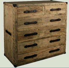 Hanbel Wood and Leather Chest of Drawers