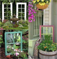 idées-déco-jardin-vieilles-fenêtres-treillis-plantes-grimpantes idées déco jardin