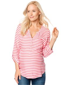 30cfdcb71a Motherhood Maternity Three-Quarter-Sleeve Split-Neck Striped Top Women -  Maternity - Macy s