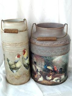 Decoupage Glass, Decoupage Art, Canal Boat Art, Painted Milk Cans, Old Milk Cans, Chickens And Roosters, Home And Deco, Bottle Art, Diy And Crafts