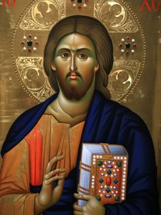 Christ Pantocrator Icon at Aghiou Pavlou Monastery on Mount Athos Photographic Print by Julian Kumar at eu.art.com