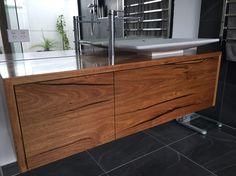 Solid Messmate timber floating vanity Timber Vanity, Hardwood Furniture, Floating Vanity, Bathroom Layout, Credenza, Cabinet, Storage, Home Decor, Kitchens