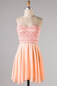 Peach Aztec Sundress - shopthreelittlebirds