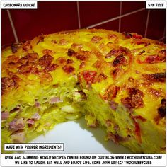 syn-free carbonara quiche - yes, it's amazing - twochubbycubs Slimming World Quiche, Slimming World Pasta, Slimming World Dinners, Slimming World Recipes Syn Free, Slimming Eats, Syn Free Sausages, Frittata Recipes, Savoury Recipes, Healthy Recipes