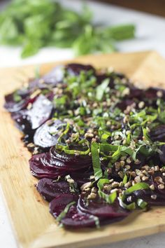 Balsamic Basil Beets- Steamed beets with basil, garlic-y balsamic reduction, and chopped pecans.