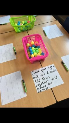 Due Date This is a cute idea to do as a bell ringer or an exit slip to assess students' knowledge of addition. Each student will creat Math Stations, Math Centers, Maths 3e, Primary Maths, Math Math, Year 1 Maths, Early Years Maths, Second Grade Math, Grade 1