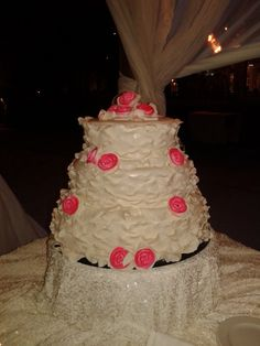 The ruffle Cake -  An exquisite design that works well with any wedding beach flair.