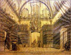 Biblioteca palafoxiana, litogrfía, siglo XIX. Colección particular. Puebla, México.