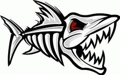 "Amazon.com - Fish Skeleton Shark Car Bumper Sticker Decal 5""x 3"" - - ClipArt Best - ClipArt Best"