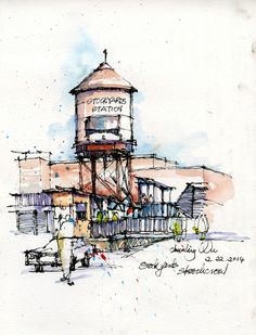 art journal - travel diary - urban sketchers - sketchbook. Urban sketch by Land8 member Chunling Wu.