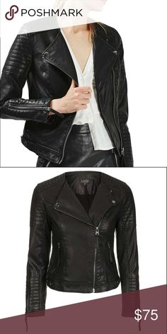 TOPSHOP Faux Leather Jacket Lightweight, soft leather that looks edgy and sleek. Jacket has quilted panels and exposed silvertone hardware. The asymmetrical zip is very flattering so you don't have to worry about the boxy leather jacket feel. Topshop Jackets & Coats
