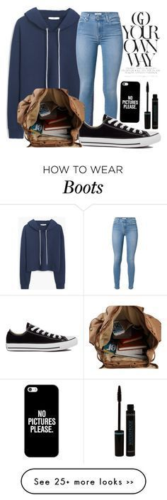 "Cool ""Go your own way"" by hahafashionhaha on Polyvore featuring MANGO, 7 For All Mankind, Converse and Casetify... Pantalón Check more at http://fashionie.top/pin/35915/"