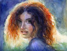 Sunlit Watercolor woman portrait painting by Svetlana Novikova, www.SvetlanaNovikova.com