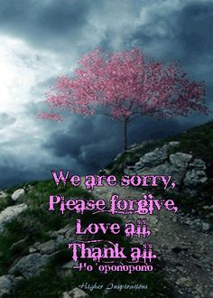 """We are sorry, please forgive, love all, thank all.""  --Ho'oponopono  http://pinterest.com/higherinspire/hooponopono/"