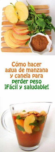 Como hacer agua de manzana y canela para perder peso. ¡Fácil y saludable! #agua…