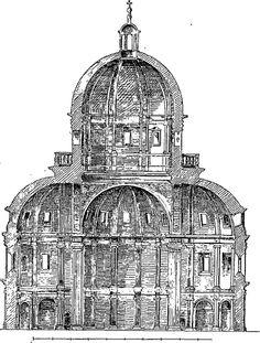 Santa Maria della Consolazione - section - Todi, Italy built 1508-1607
