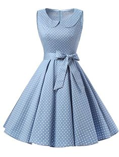 TideClothes Vintage 1950s Lapel Polka Dots Rockabilly Dress Party Cocktail Dress Sky Blue 3XL * Continue to the product at the image link.