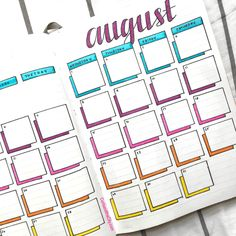 August Bullet Journal - Curls and the City Bullet Journal Agenda, Bullet Journal August, Bullet Journal Inspo, Bullet Journal Calendar Ideas, Bullet Journal Boxes, Bullet Journal Monthly Spread, Bullet Journal Themes, Bullet Journal Review, Bullet Journal School