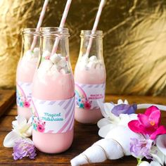 What fun magical pink milkshakes with marshmellows at this stunning Unicorn birthday party!! See more party ideas and share yours at CatchMyParty.com