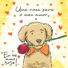 Uma rosa para o meu amor. #euteamohoje #amor #namorados #cachorro #rosa
