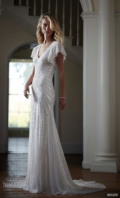 bhldn spring 2016 bridal gowns beautiful sheath wedding dress v neckline butterfly sleeves shimmering beaded embroidery throughout style sibella