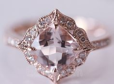 NEW DESIGN!Vintage Morganite and Diamond Ring /Morganite ring/Morganite engagement ring/aquamarine/morganite/Moissanite /Engagement Ring on Etsy, $549.00